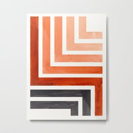 Burnt Sienna Mid Century Modern Watercolor Colorful Ancient Aztec Art Pattern Minimalist Geometric P Metal Print