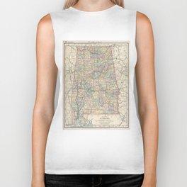 Vintage Map of Alabama (1891) Biker Tank