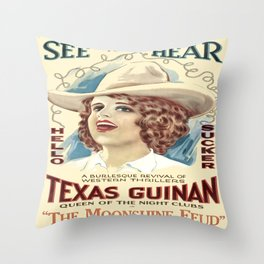 Vintage Western Cowgirl Poster  Throw Pillow