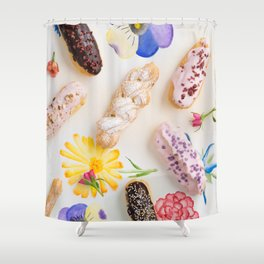 Eclairs with toppings Shower Curtain