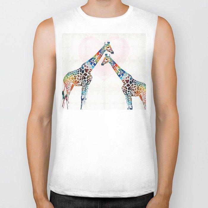 Colorful Giraffe Art - I've Got Your Back - By Sharon Cummings Biker Tank