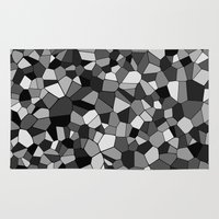 gray pattern Area & Throw Rugs featuring Gray Monochrome Mosaic Pattern by Margit Brack
