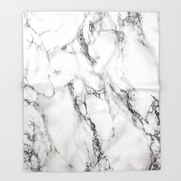 White Faux Marble Texture Throw Blanket