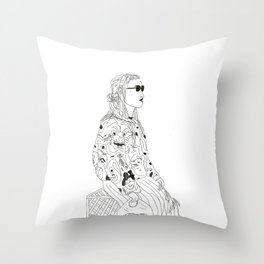 girl with record plastic bag Throw Pillow