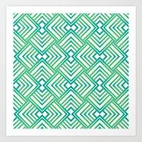 Mint&blue Art Print
