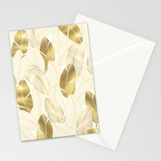 Gold tropical leaves pattern Stationery Cards