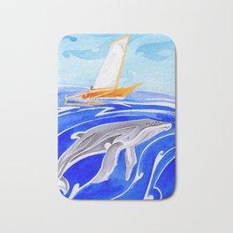 humpback whale and polynesian outrigger sail boat Bath Mat