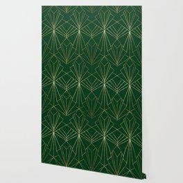 Art Deco in Gold & Green Wallpaper