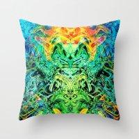 shiva Throw Pillows featuring Shiva by Aleks7