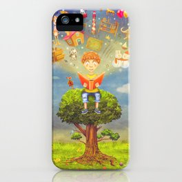 Little boy sitting on the tree and  reading a book, objects flying out iPhone Case
