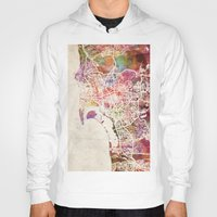 san diego Hoodies featuring San Diego by MapMapMaps.Watercolors