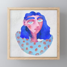 Blue Hair Girl Framed Mini Art Print