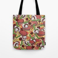 pizza Tote Bags featuring Pizza by Raewyn Haughton
