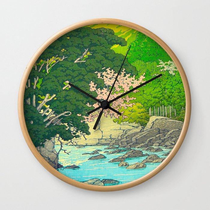 Vintage Japanese Woodblock Print Beautiful Water Creek Grey Rocks Green Trees Wall Clock