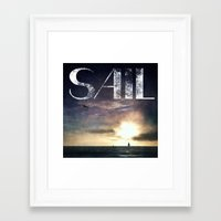 sail Framed Art Prints featuring SAIL by Grafikki Shop