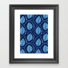 Beautiful Decorative Blue Leaves Pattern Framed Art Print