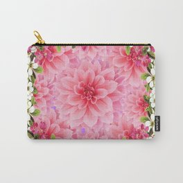 PINK DAHLIA FLOWER GARDEN  YELLOW FLORAL Carry-All Pouch