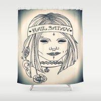 satan Shower Curtains featuring Hail Satan! by Swimming Bell