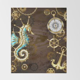 Wooden Background with Mechanical Seahorse ( Steampunk ) Throw Blanket