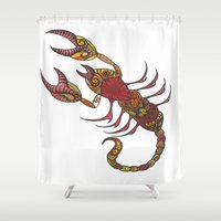 tatoo Shower Curtains featuring Tatoo Scorpion by PepperDsArt