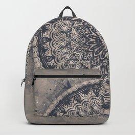 Mandala Geometric Grey and Navy Blue Backpack