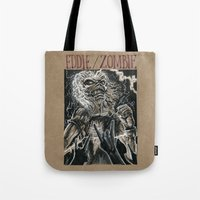 iron maiden Tote Bags featuring Eddie the Head / Iron Maiden (DRAWLLOWEEN 8/31) by pakowacz