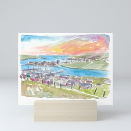 Scalloway Shetland Bay and Town View in Afternoon Mini Art Print