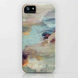 Gentle Beauty [5] - an elegant acrylic piece in deep purple, red, gold, and white iPhone Case