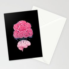 Brain with peonies on black Stationery Cards