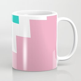 Mint & Pink dived by a white zigzag lines. Coffee Mug