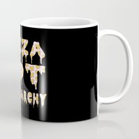 patriarchy Mugs featuring Pizza Not Patriarchy  by theagenda