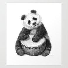 Panda playing percussion G140 Art Print