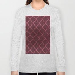 Elegant burgundy faux pink rose gold quatrefoil Long Sleeve T-shirt