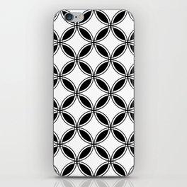 Large White Geometric Circles Interlocking on Black Background iPhone Skin