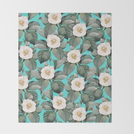 White Camellia Floral On Teal Pattern Throw Blanket