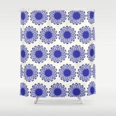 vintage flowers blue  Shower Curtain