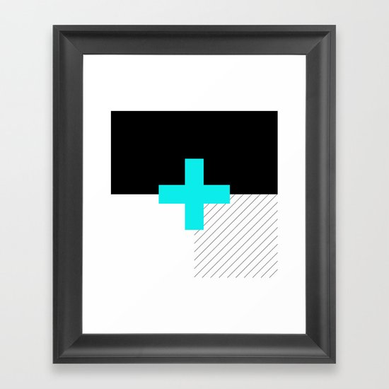 Neon Cross (Blue) // Neon Plus (Blue) Framed Art Print