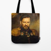 replaceface Tote Bags featuring Ricky Gervais - replaceface by replaceface