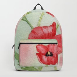 Watercolor Poppy Field Painting Backpack
