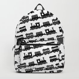 Black and White Wooden Toy Trains Pattern Backpack