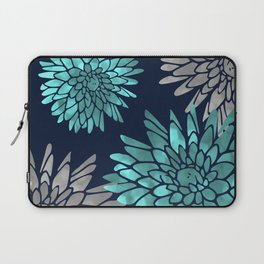 Floral Chrysanthemum Modern Navy Aqua Laptop Sleeve