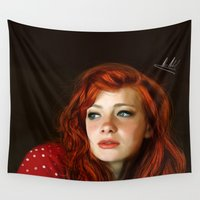 redhead Wall Tapestries featuring RedHead by Allaa Adel