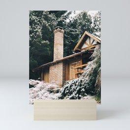 Snowy cabin in Bariloche, Argentina Mini Art Print