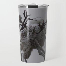 Snowy Owl in Tree Travel Mug