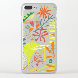 Tropical Leaves and Flowers at Night Clear iPhone Case