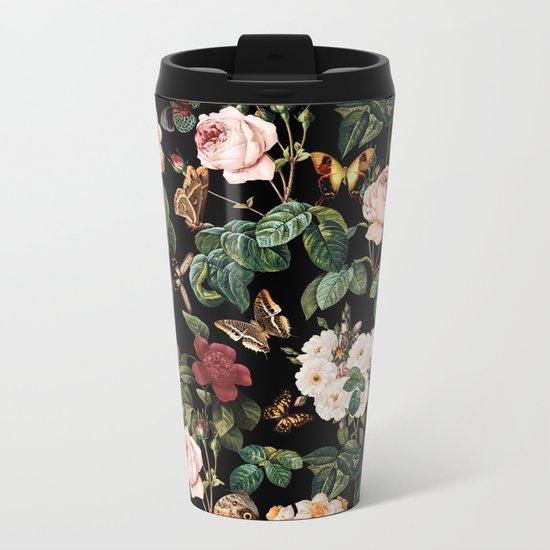 Floral and Butterflies Metal Travel Mug