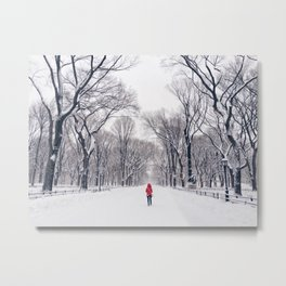 A modern Little Red Riding Hood in Central Park Metal Print