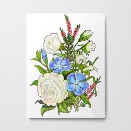 White Rose and Blue flowers, Antique Heirloom Flower Bouquet, Original Aquatint Watercolor PNG 11 Metal Print