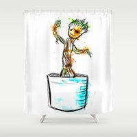 groot Shower Curtains featuring Watercolour Groot by Curious Nonsense.