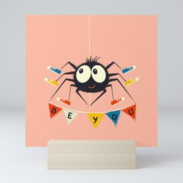 Cute Spider wearing trainers Mini Art Print